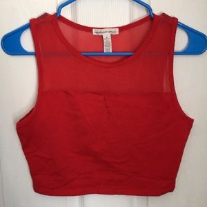 Red crop top with see-through top size M